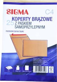 Sigma Koperty samoprzylepne brązowe C4 25 sztuk