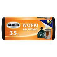 Grosik Worki na śmieci czarne 35 l 50 sztuk 5 opakowań
