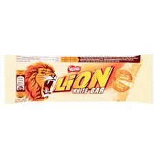 Lion White Nadziewany wafel z karmelem i płatkami pszennymi w białej polewie 42 g 40 sztuk