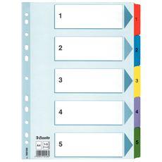 Esselte Mylar Przekładki kartonowe 1-5 różne kolory A4