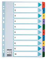 Esselte Mylar Przekładki kartonowe 1-10 różne kolory A4