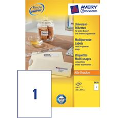 Avery Zweckform Etykiety uniwersalne białe 210 x 297 mm 100 sztuk