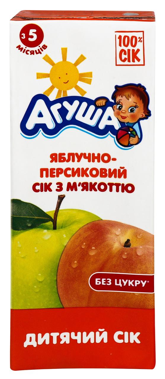 Сік Агуша яблучно-персиковий з 5-ти місяців 0,2л тетра