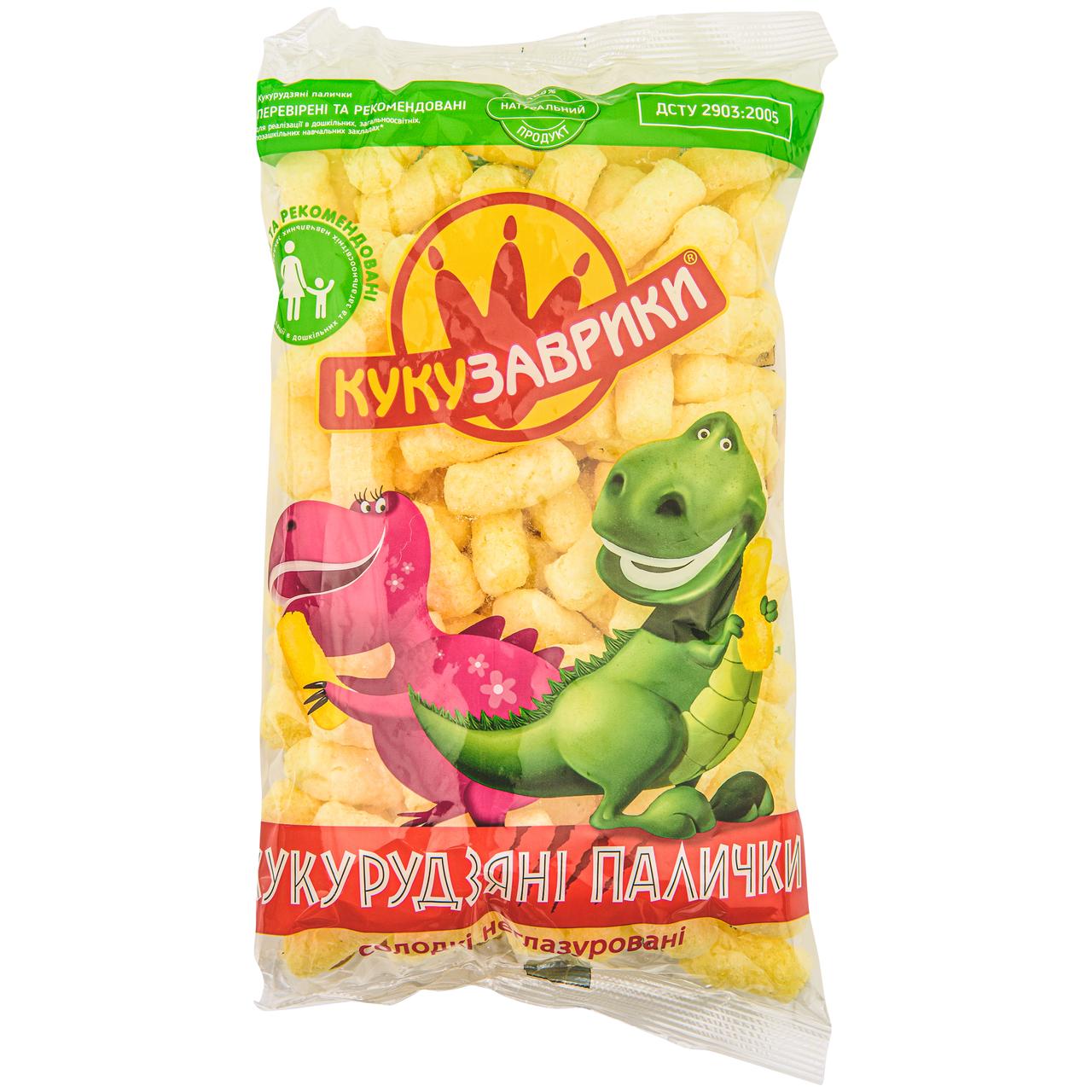 Палички кукурудзяні Кукузаврики солодкі неглазуровані 80г