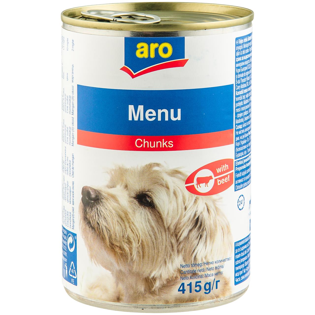 Корм для собак Aro з яловичиною консервовний 415г