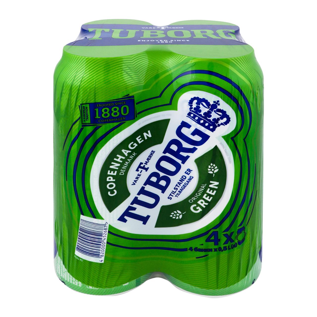 Пиво Tuborg Green світле пастеризоване 4.6% 4*0.5л/уп