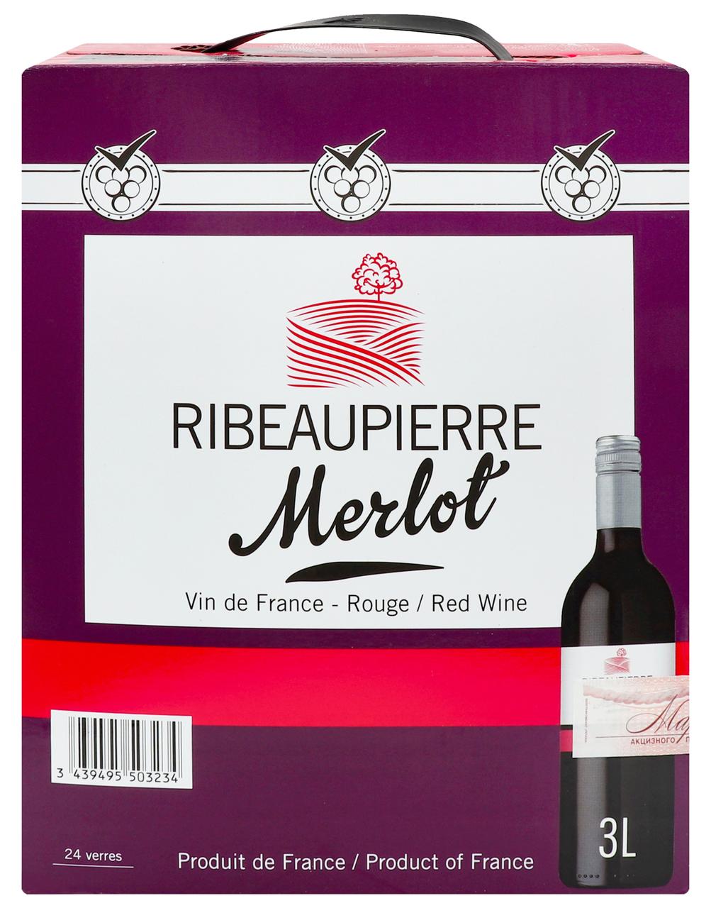 Вино Ribeaupierre Merlot BiB 3l червоне сухе 12,5% 3л