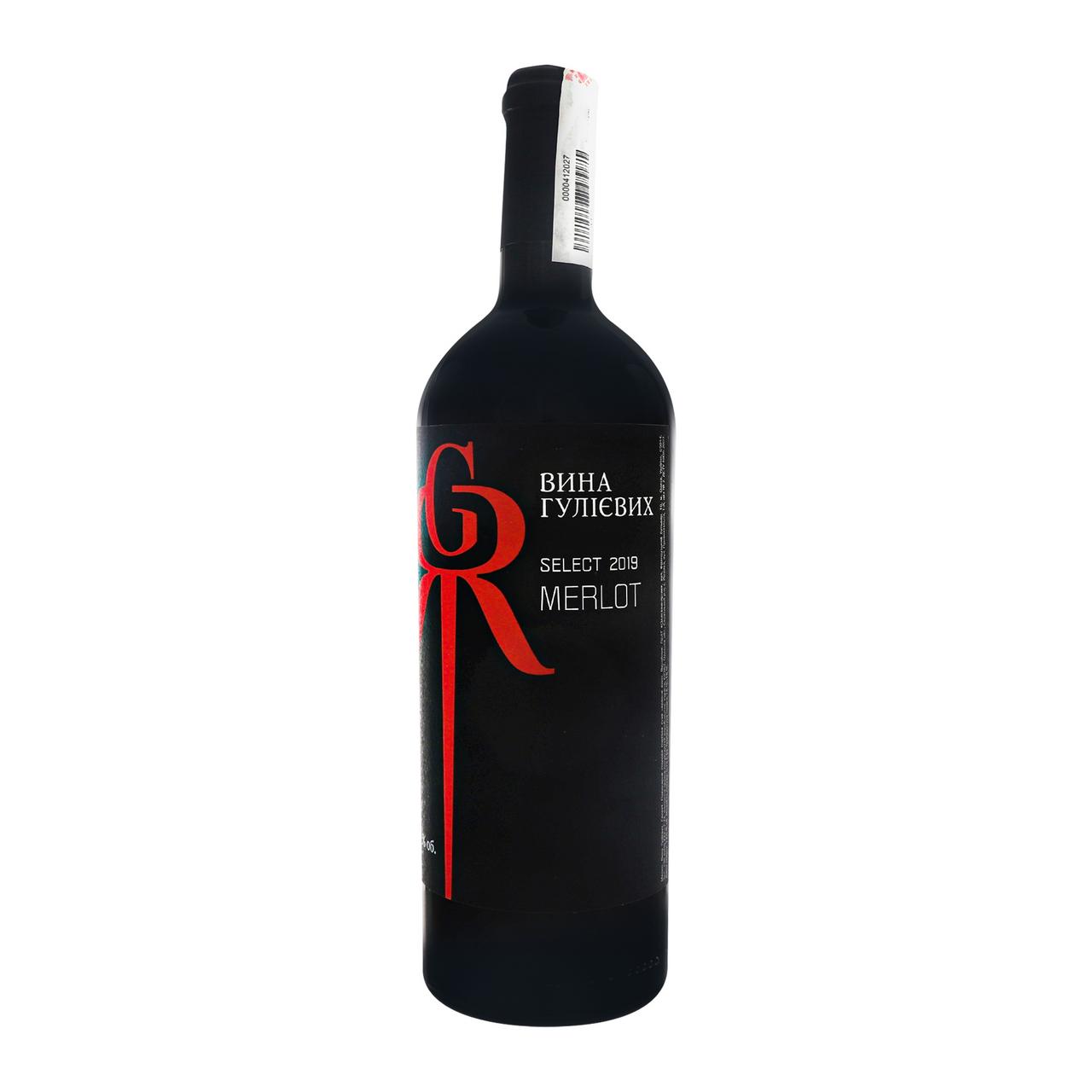 Вино Вина Гулієвих Select Merlot червоне сухе 12.5% 0.75л