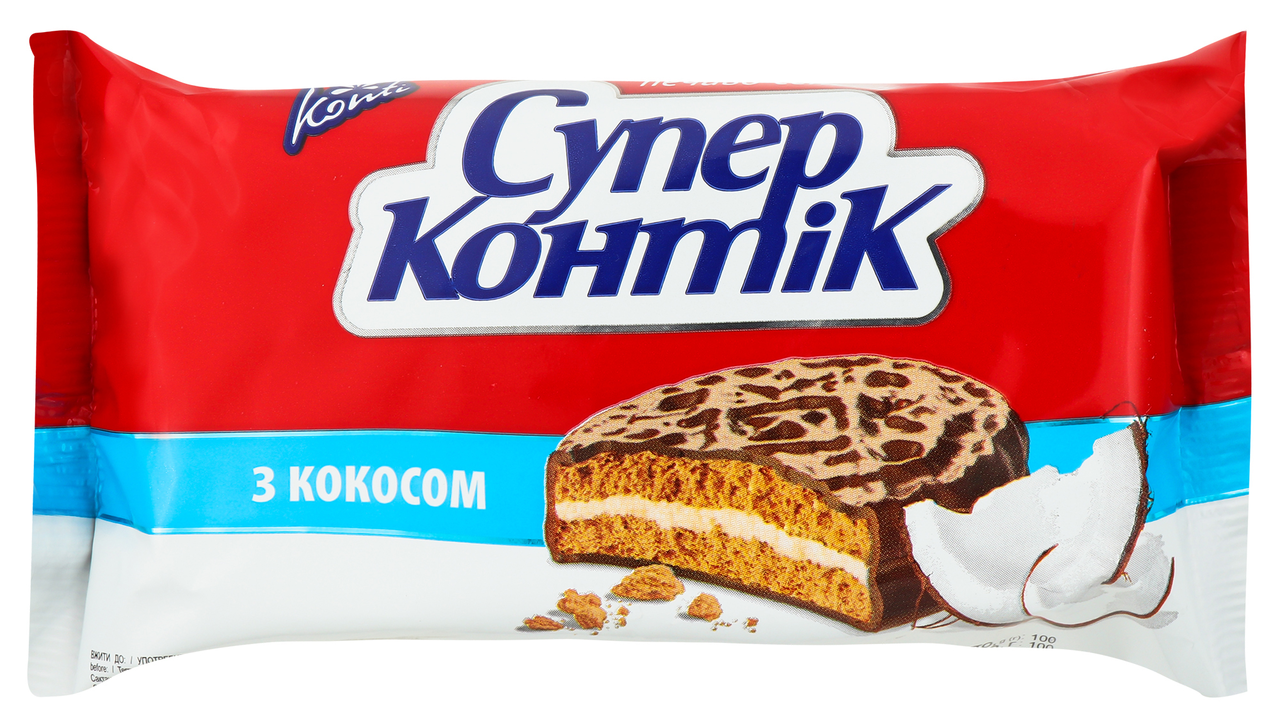 Печиво-сендвіч Konti Супер-Контік молочний з кокосом 100г