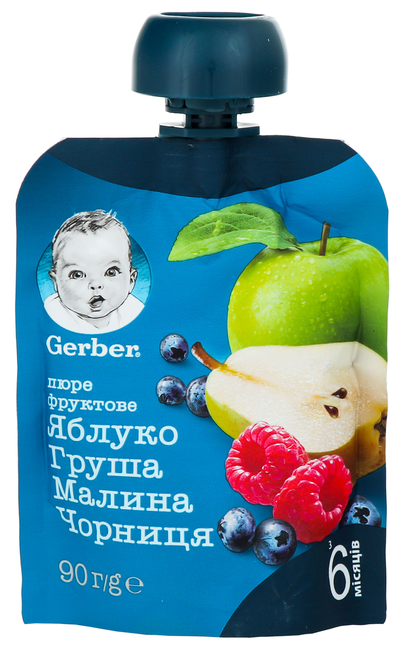 Пюре Gerber яблуко-груша-малина-чорниця з 6 міс 90г