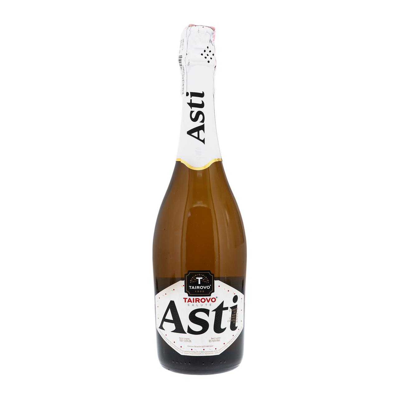 Вино ігристе Tairovo Salute Asti біле солодке 10-13.5% 0.75л