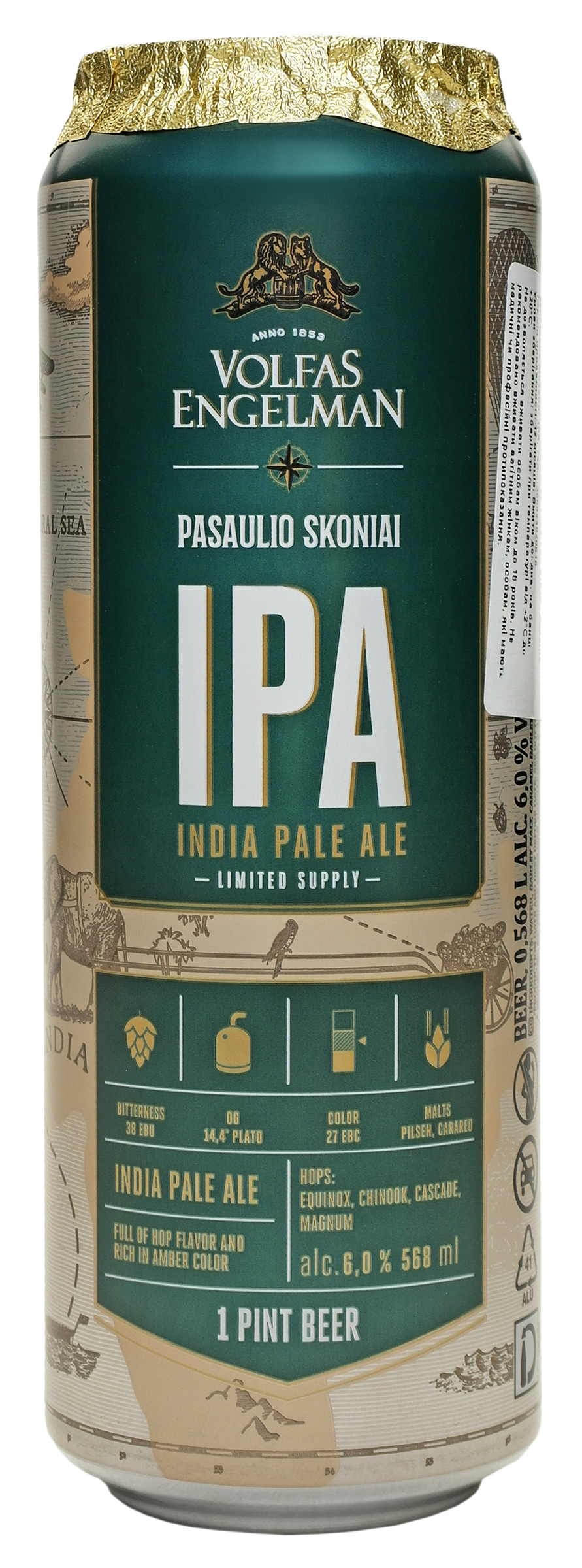 Пиво Volfas Engelman IPA світле фільтроване 6% 568мл ж/б
