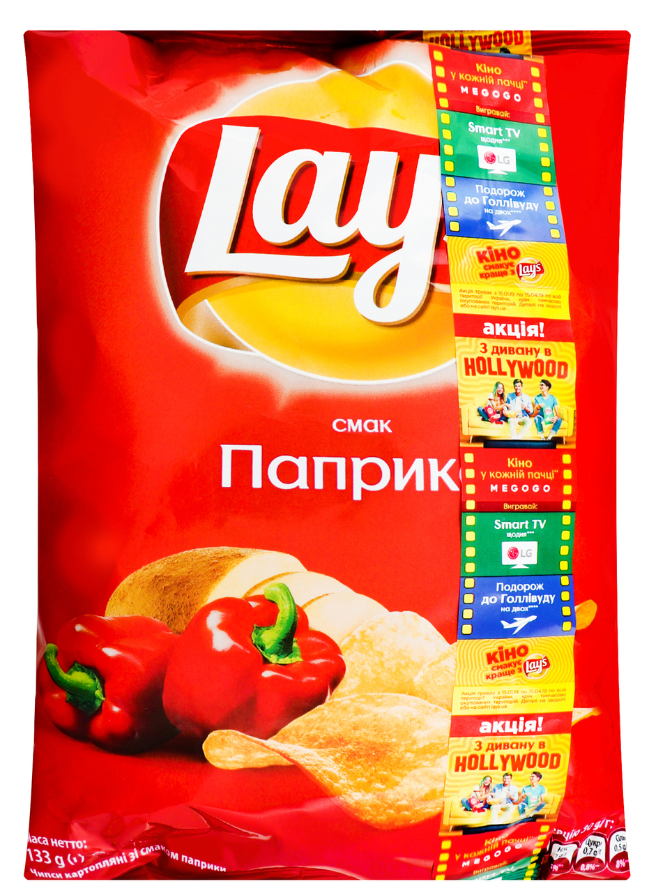 Чіпси Lay`s картопляні зі смаком паприки 133г