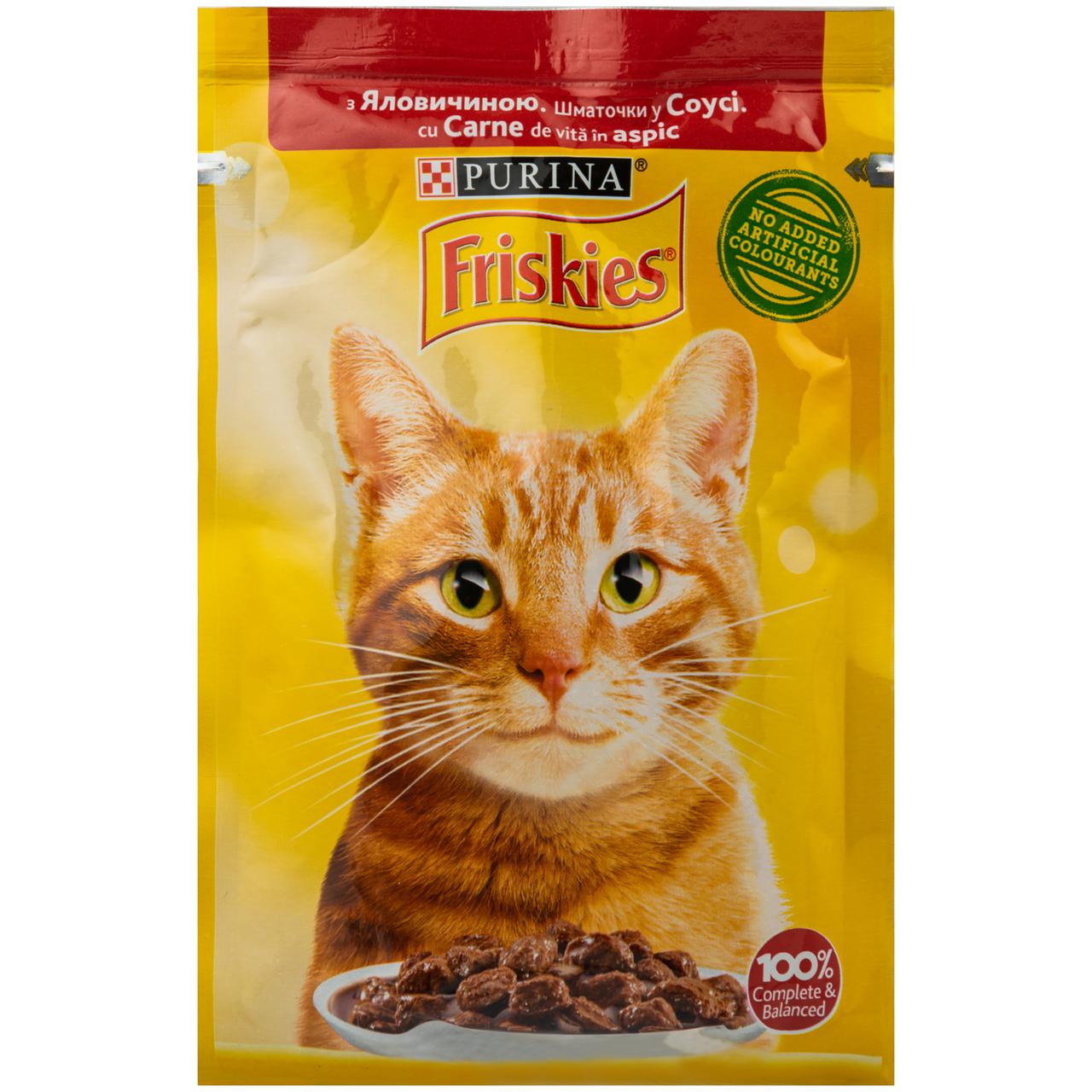 Корм вологий Friskies з яловичиною у соусі для котів 85г