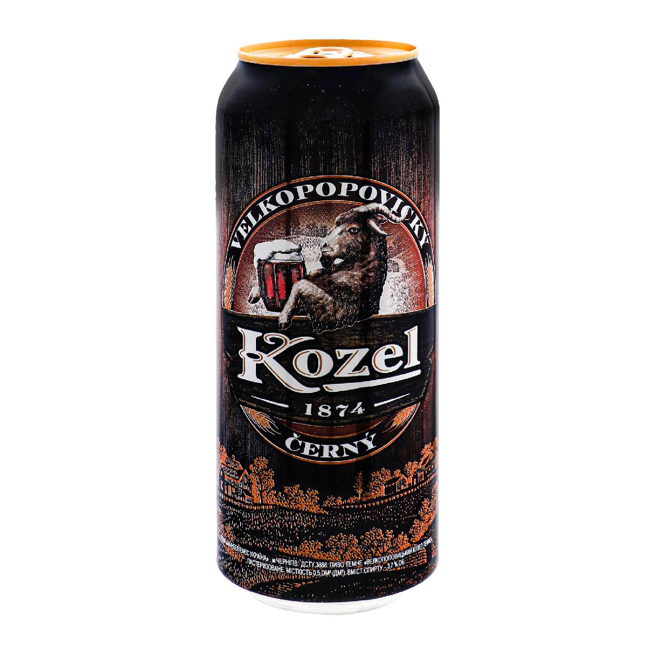 Пиво Velkopopovicky Kozel Černý темне фільтроване 3.7% 0.5л