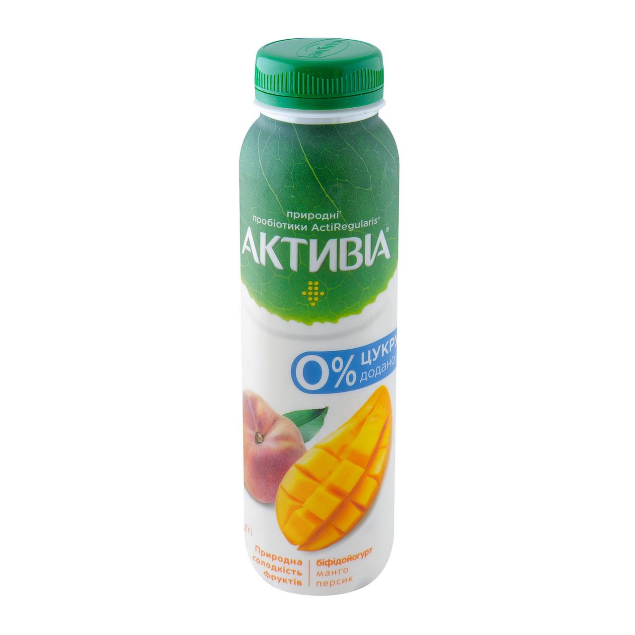 Біфідойогурт Активіа Манго-персик питний без цукру 1.2% 270г
