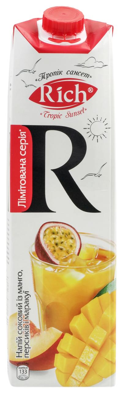 Напій соковий Rich Манго, персик і маракуйя неосвітлений 1л