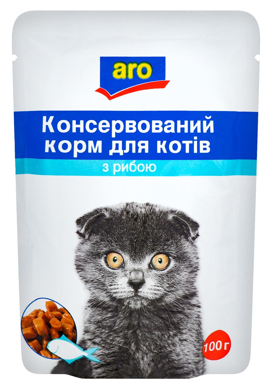 Корм для котів Aro консервований з рибою 100г