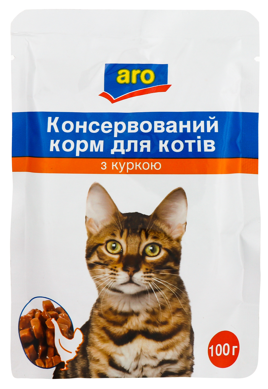 Корм для котів Aro консервований з куркою 100г