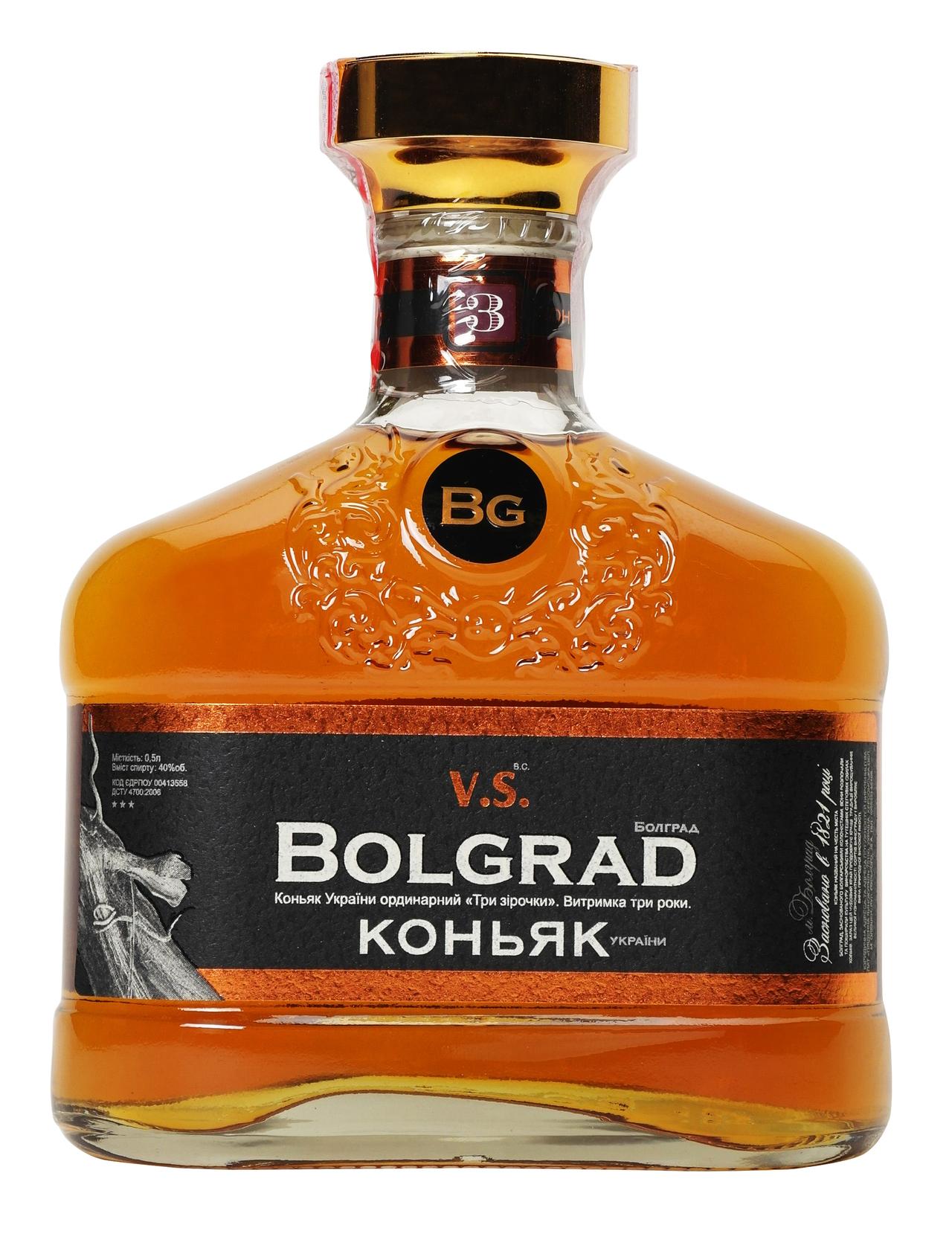 Коньяк Bolgrad VS 3* 40% 0,5л