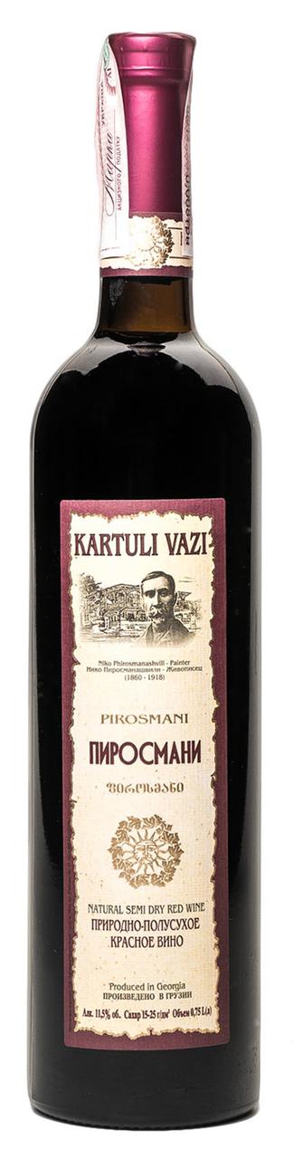 Вино Kartuli Vazi Піросмані червоне напівсухе 11,5% 0,75л