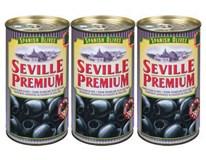Seville Premium Olivy černé španělské bez pecky 3x350g