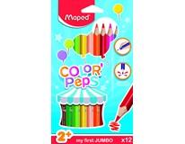 Pastelky trojboké Maped Color'Peps Jumbo 2+ 12barev 1bal.