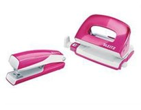 Set mini sešívačka a děrovačka Leitz Wow růžová 1ks