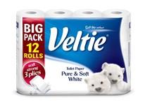 Veltie Toaletní papír bílý 3-vrstvý 1x12ks
