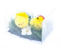 Dekorace Kuřátka v trávě v krabičce 2ks