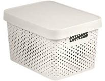 Box úložný s víkem Infinity 11L bílý s puntíky 1ks