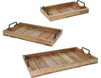 Podnos servírovací dřevěný sada 3ks