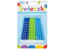 Svíčky narozeninové puntíkaté modro-zelené 24ks