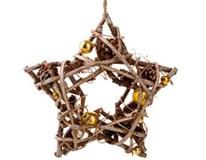 Hvězda ratanová s hvězdami zlatá 1ks