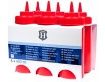 H-Line Láhev dávkovací červená 490ml 6ks