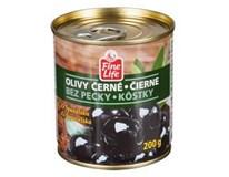 Fine Life Olivy černé bez pecky 4x200g