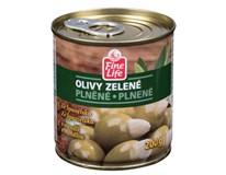 Fine Life Olivy zelené s mandlí 4x200g