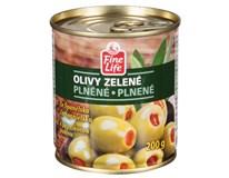 Fine Life Olivy zelené s paprikou 4x200g