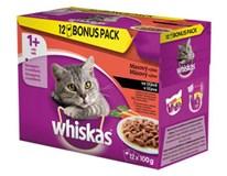 Whiskas 4druhy masa kapsa pro kočky 12x100g