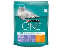 Purina One Coat&Hairball kuře granule pro kočky 1x800g