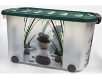 Box s víkem a kolečky Deco 45L motiv rákos 1ks