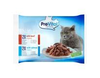 PreVital Naturel hovězí+losos kapsička pro kočky 4x85g