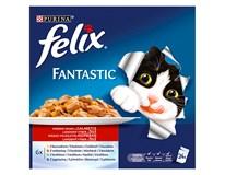 Felix Fantastic kuřecí+hovězí+jehněčí+králík pro kočky 24x100g