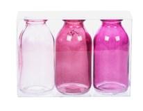 Sada lahviček dekorativní růžové 3ks