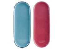 Talíř kamenina 36,2x13,5cm modrý/ červený 1ks