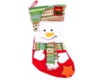 Bota vánoční textilní s aplikací 1ks