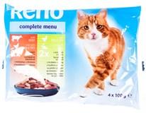 Reno Kapsičky pro kočky hovězí/drůbeží + drůbeží/rybí 4x100g