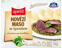Hovězí maso se špenátem a bramborovým knedlíkem chlaz.
