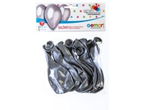 Balónek nafukovací metalická stříbrná 30cm 1x10ks