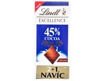 Lindt Čokoláda Excellence Milk 45% 3x80g (2+1)